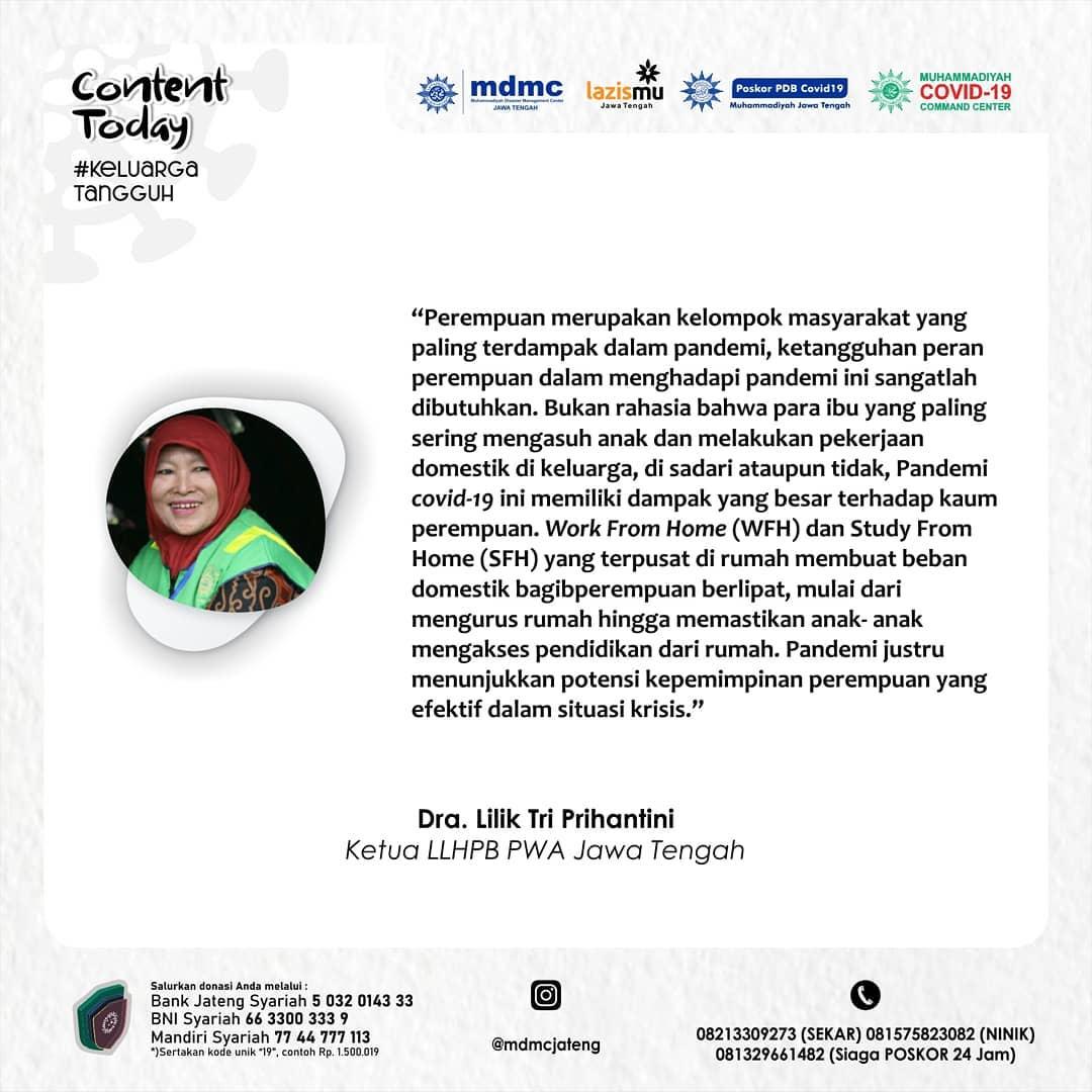Kutipan #KeluargaTangguh dari Dra. Lilik Tri Prihantini (Ketua LLHPB PWA Jawa Tengah)