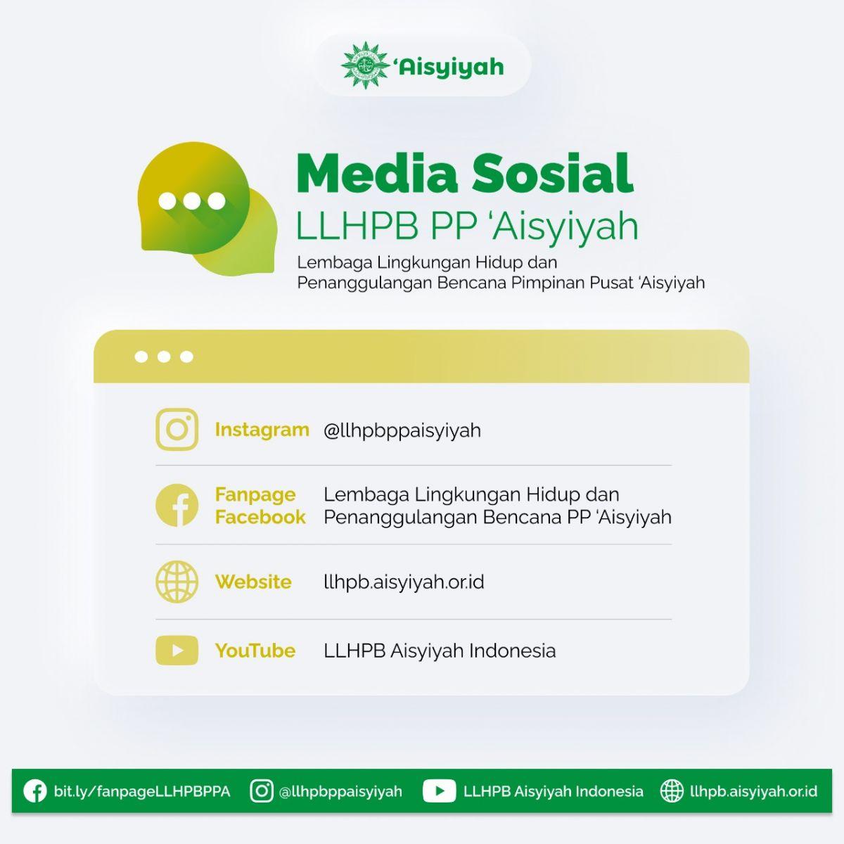 Media Sosial LLHPB PP 'Aisyiyah  Mari kita cek dan ikuti (follow) akun-akun media sosial LLHPB PP 'Aisyiyah berikut ini:  - Instagram: https://www.instagram.com/llhpbppaisyiyah/  - Fanpage Facebook : https://bit.ly/fanpageLLHPBPPA  - Website/ Sistim Informasi Aisyiyah (SIA) : http://llhpb.aisyiyah.or.id/  - Youtube: http://bit.ly/youtubeLLHPBPPA   #Aisyiyah #LLHPB