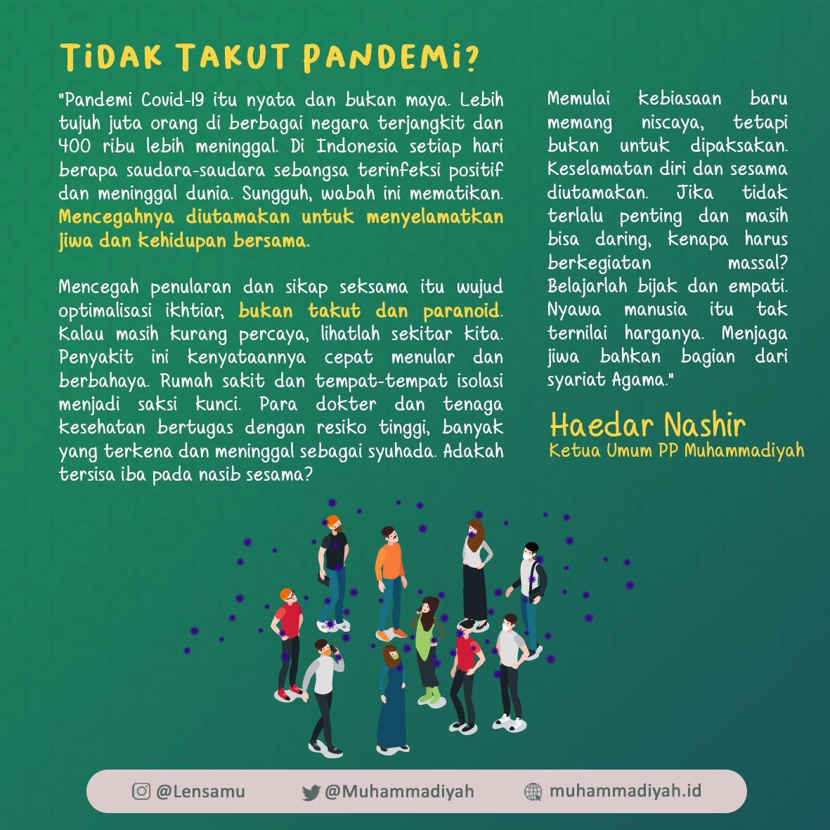 """Kutipan """"Tidak Takut Pandemi?"""" oleh Haedar Nashir (Ketua Umum PP Muhammadiyah)"""